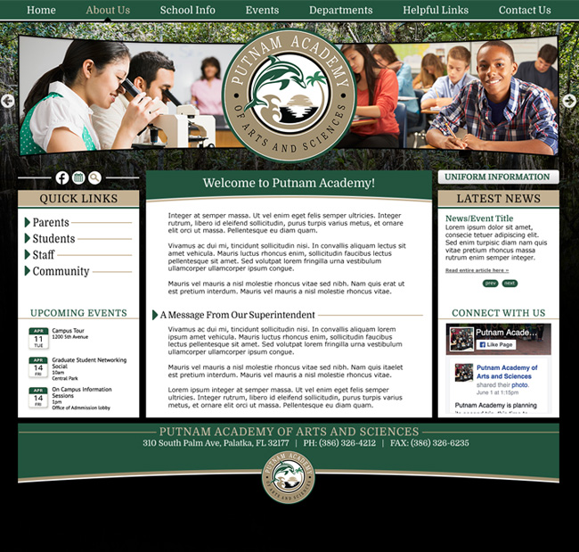 Arts and Sciences Academy Website Template: Putnam Academy
