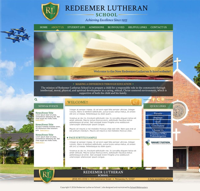 Lutheran School Website Template: Redeemer Lutheran
