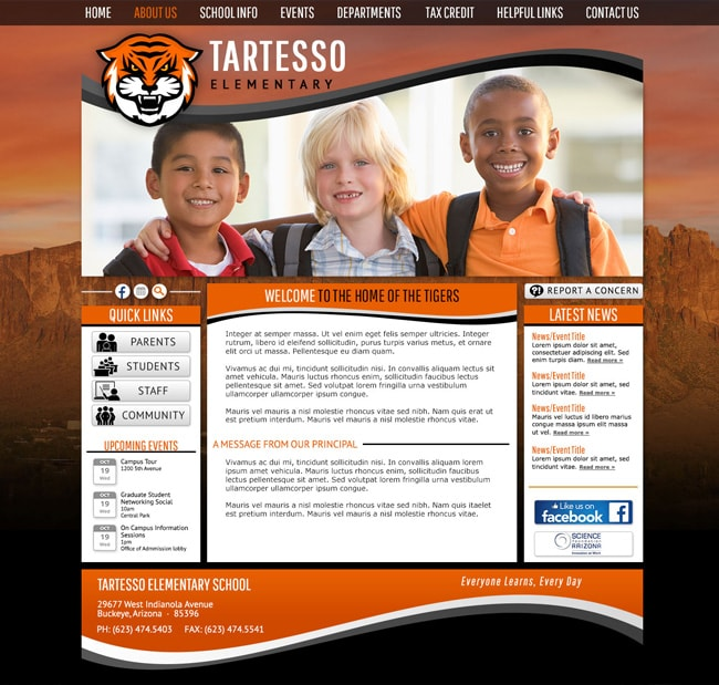 Elementary School Website Template: Tartesso