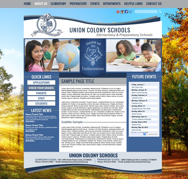 Preparatory School Website Template: Union Colony Preparatory School