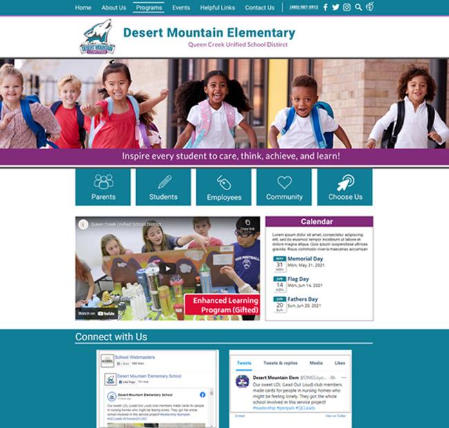Customized Elementary Website Desert Mountain Elementary