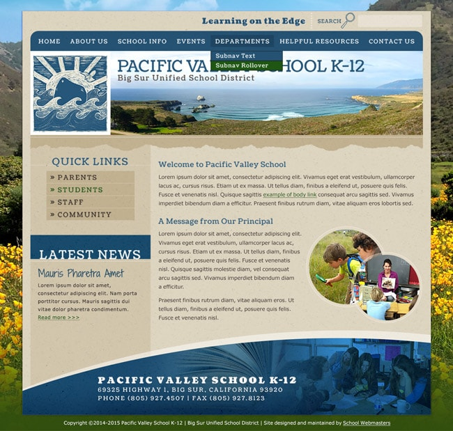School Website Template: Pacific Valley