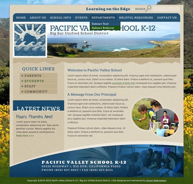 School Website Template: Pacific Valley