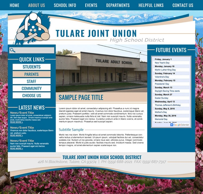 School District Website Template: Tulare Joint Union