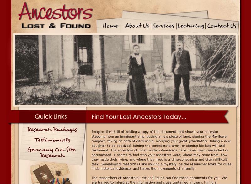 Business Website Design: Ancestors Lost and Found