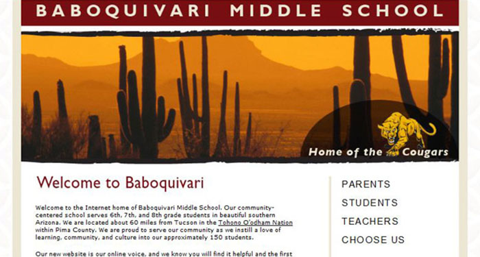School Web Design: Baboquivari Middle School