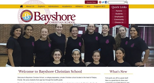 Private School Website Design: Bayshore Christian School