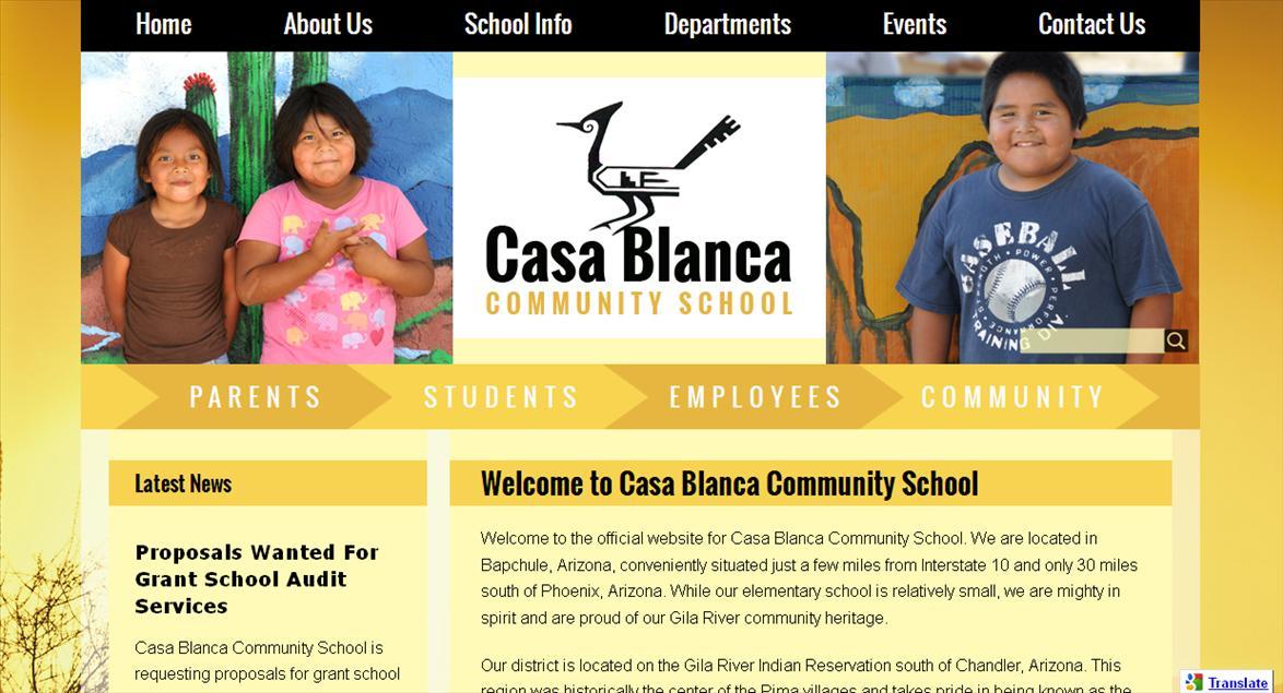 School Web Page: Casa Blanca Community School