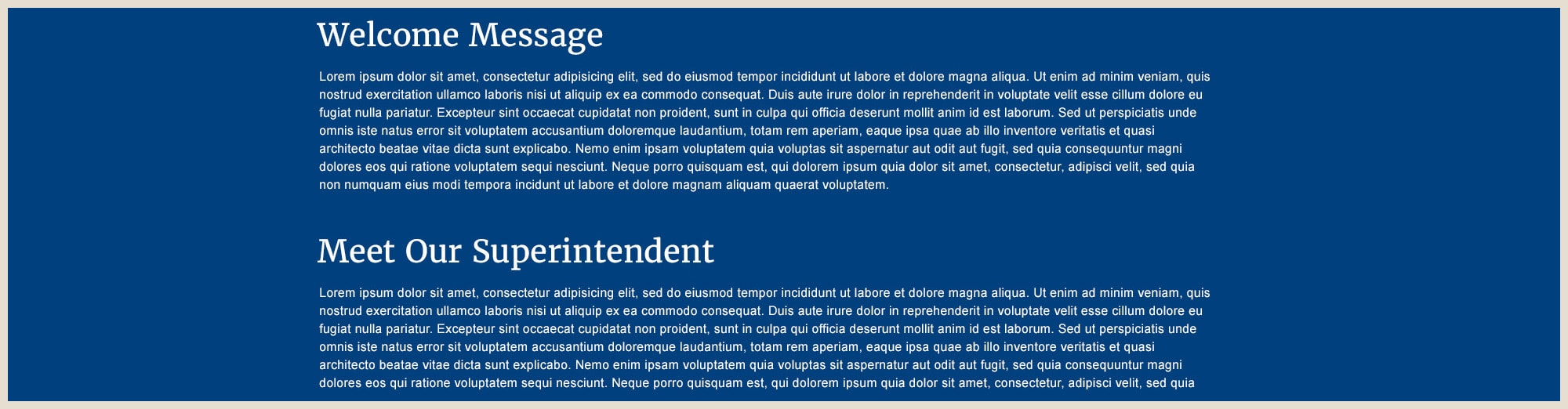 Example of Full Width Text