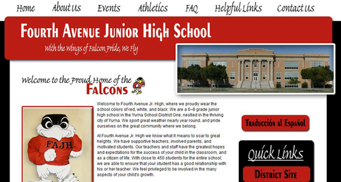 School Website Designer: Fourth Avenue Jr. High