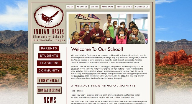 Best School Website Design: Indian Oasis Elementary