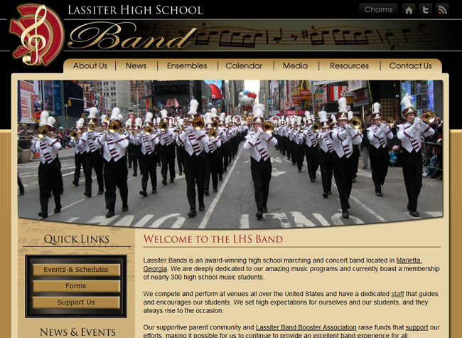 High School Band Website Design: Lassiter High School Band