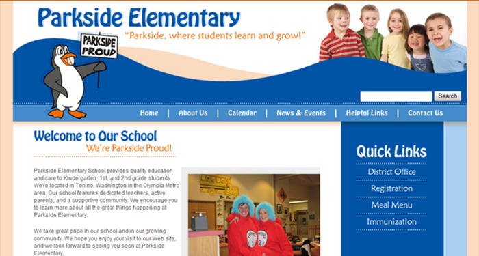 School Website Designs: Parkside Elementary School