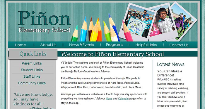 School Website Design: Piñon Elementary School
