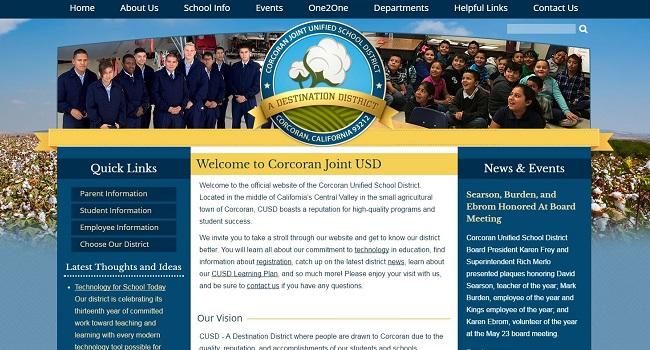 School website Design: Corcoran Joint Unified School District