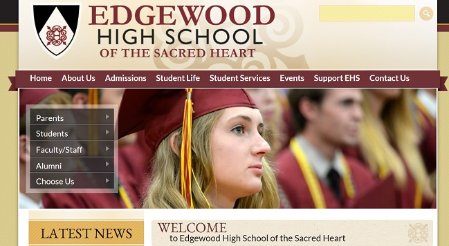 Private School Web Design: Edgewood High School of the Sacred Heart
