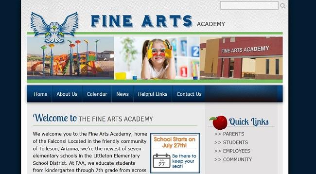 Elementary School Web Design: Fine Arts Academy