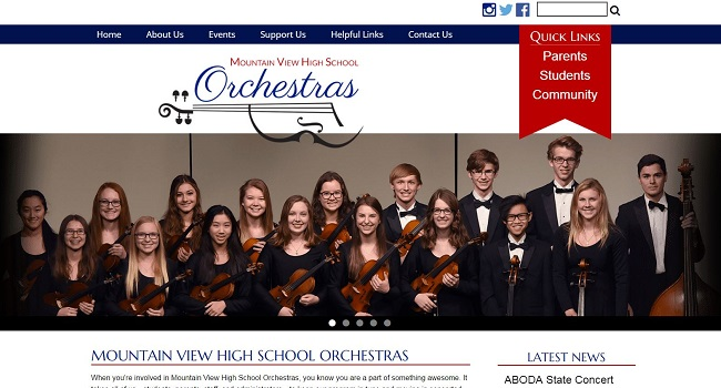 Ed Organization Web Design:  Mountain View High School Orchestras