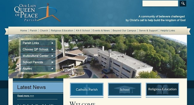 Private School & Church Web Design: Our Lady Queen of Peace Parish