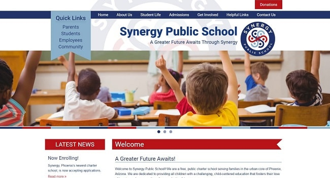 Charter School Web Design: Synergy Public School