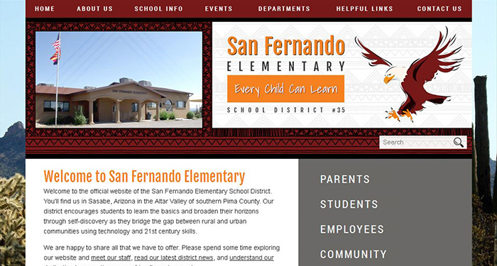 School Website Designs: San Fernando Elementary
