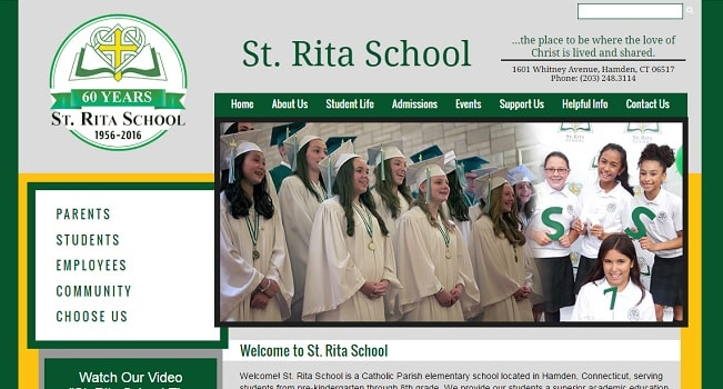 Private School Website Designs: St. Rita School