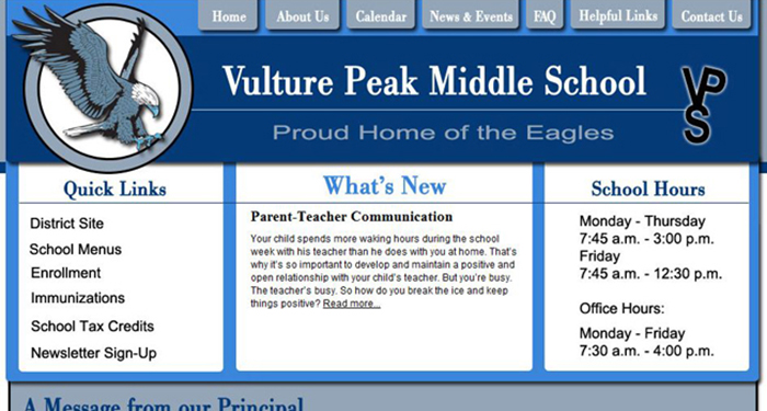 School Website Design: Vulture Peak Middle School