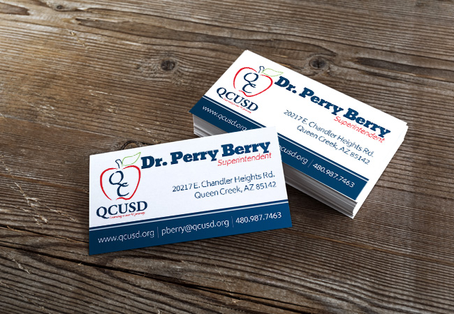 Business Card Design: Queen Creek USD