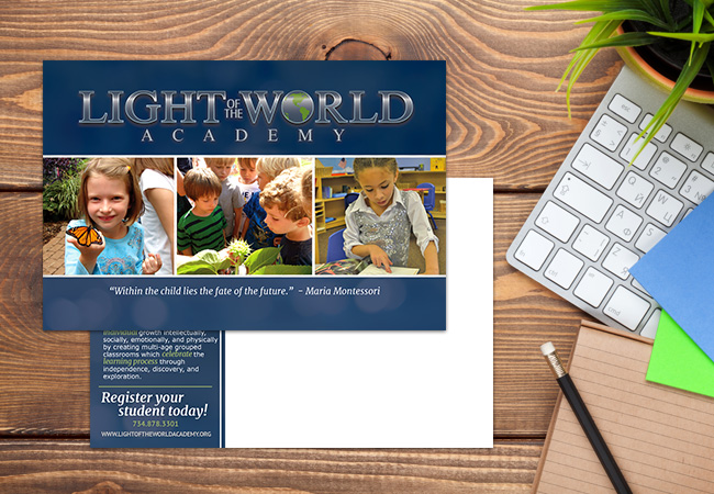 School Postcard Design: Light of the World
