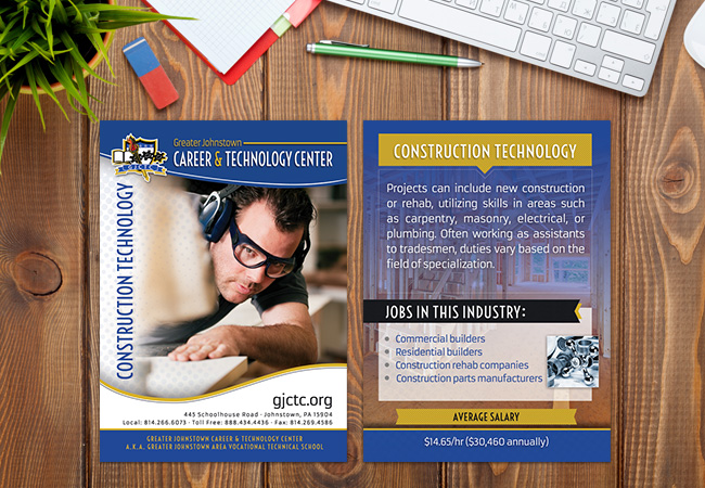 School Rack Cards: Greater Johnstown Construction Technology