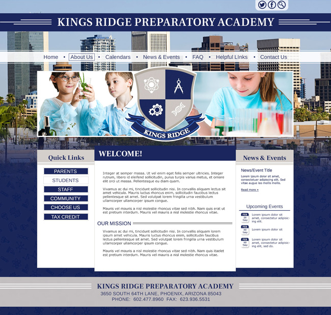 Preparatory School Template: Kings Ridge Preparatory Academy