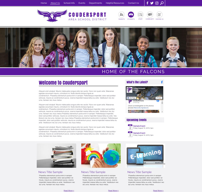 Customized School District Website Coudersport Area School District