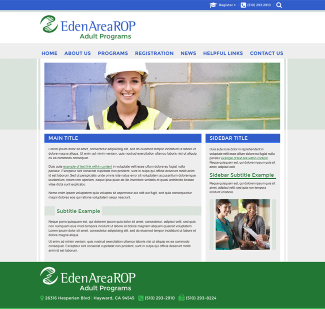 Template Adult Programs Website: Eden Area ROP Adult Programs