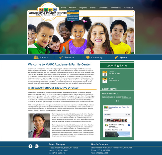 Family Center Template Website: MARC Academy and Family Center