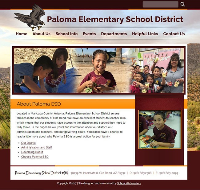 School Website Design: Paloma