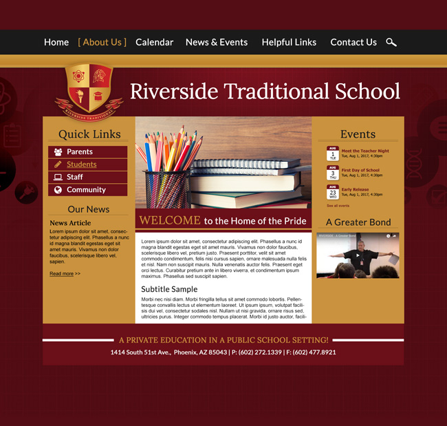 School Website Template: Riverside Traditional School
