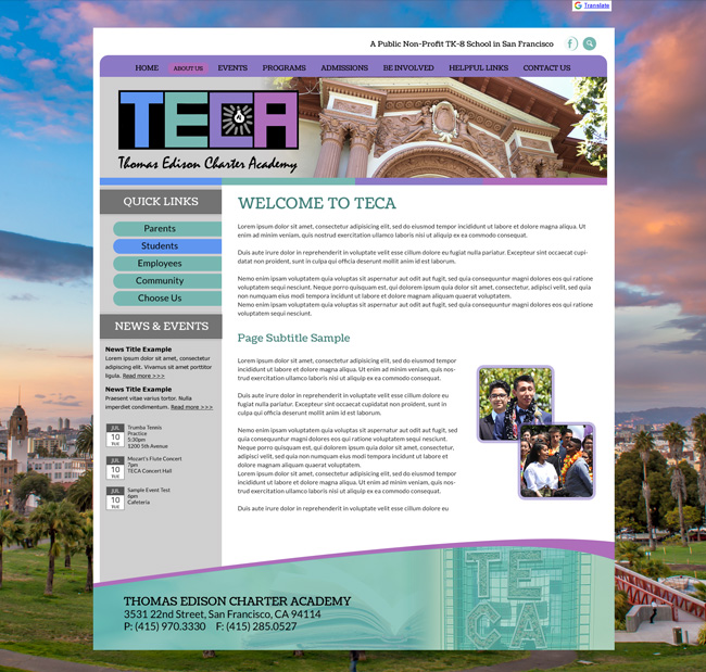 Thomas Edison Charter Academy Website Template