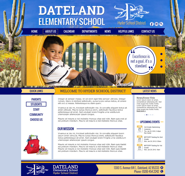 Elementary School District Website Template: Dateland Elementary School, Hyder School District