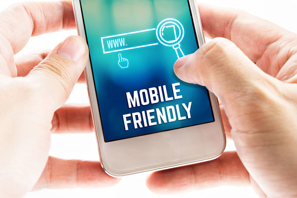 smart phone with the words mobile friendly on the screen