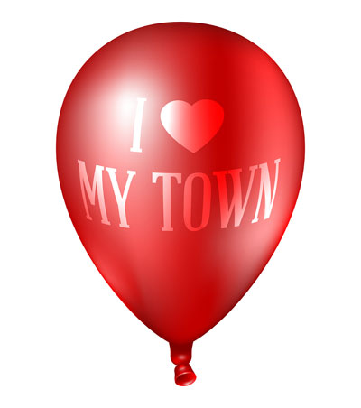 red balloon printed with I Love My Town
