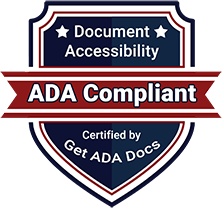 Document accessibility shield certified ADA compliant by Get ADA Docs