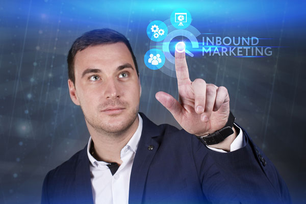 business man pointing to inbound marketing image