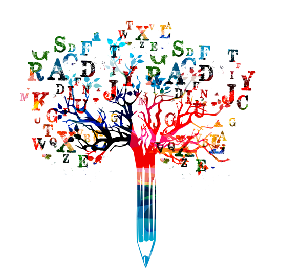 colorful tree image made of a pencil and letters