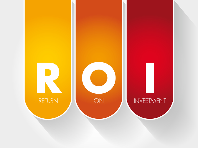 Letters ROI which stands for return on investment