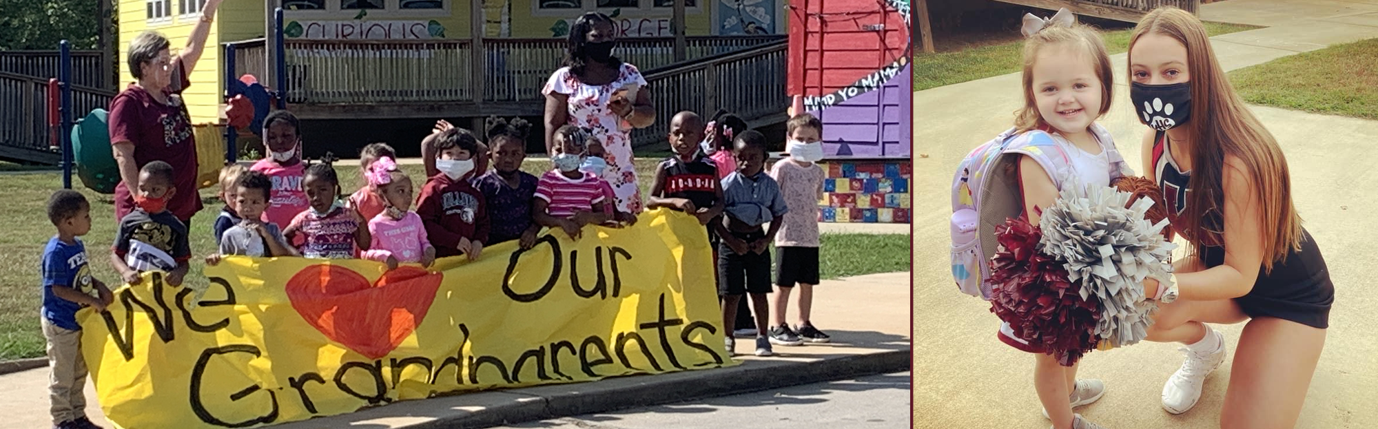 young students with We Love Grandparents sign