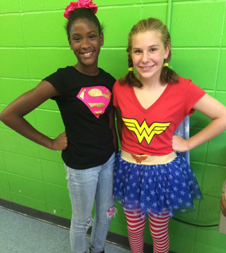 Two super hero students