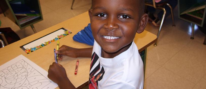 Kosciusko Lower Elementary School Student with Crayons