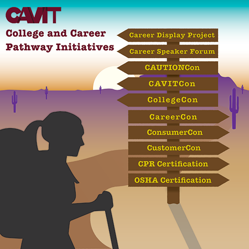 CAVIT College and Career Patheay initiatives. Career Display Project, Career Speaker Forum, CAVITCon, CollegeCon, CareerCon, ConsumerCon, CustomerCon, CPR Certification, OSHA Certification