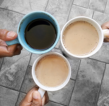 Three cups of coffee