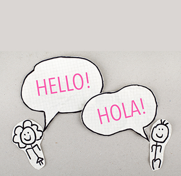 Cartoon characters saying HELLO and HOLA!